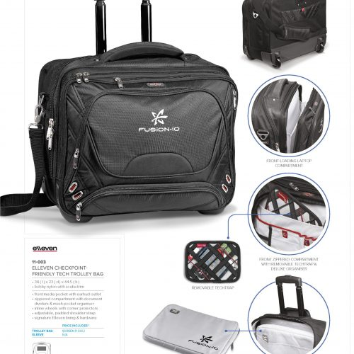 ELLEVEN CHECKPOINT FRIENDLY TECH TROLLEY BAG