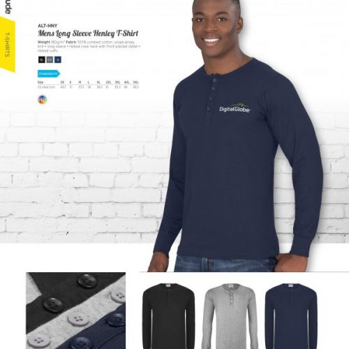 MENS LONG SLEEVE HENLEY T-SHIRT