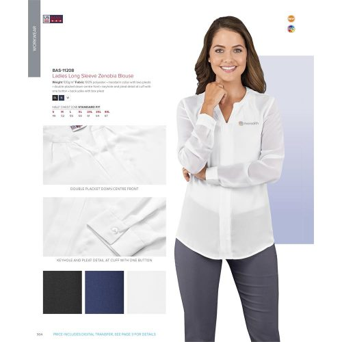 LADIES LONG SLEEVE ZENOBIA BLOUSE