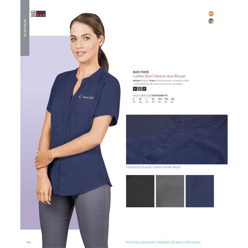 LADIES SHORT SLEEVE AVA BLOUSE